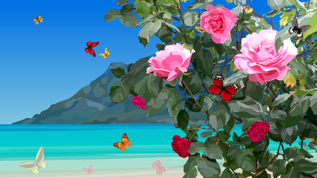 summer azure coast with rose bushes and flying butterflies