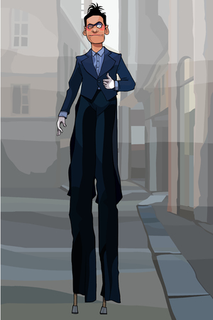 cartoon male clown in black suit on stilts walking along city street