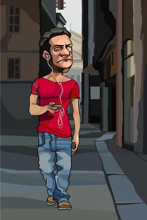 cartoon man wearing headphones walking along city street