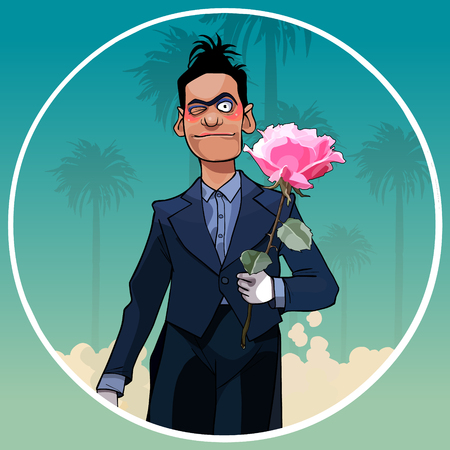 cartoon male clown in black suit with rose in hand in a circle on a background of palm trees Stock Illustratie