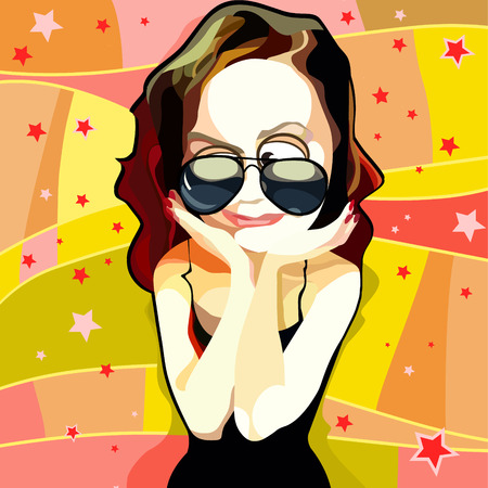 cartoon funny woman in sunglasses happily impressed on a bright background 일러스트