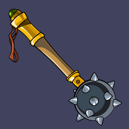 cartoon steel weapon mace with wooden handle, isolated Ilustração