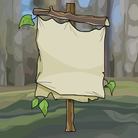 cartoon curve empty signboard from the wooden branches and canvases in the forest