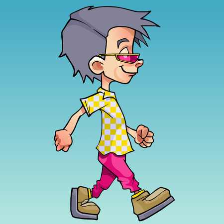 cartoon walking boy in pink glasses and bright clothes on a blue background