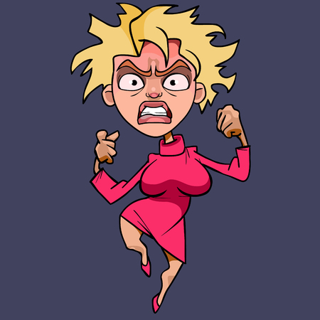 Cartoon funny woman in pink dress, hysterically angry vector illustration