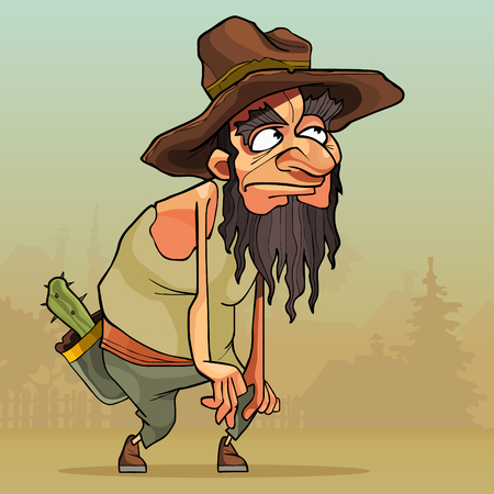 Cartoon funny man with beard in an old hat sneaks through the village.