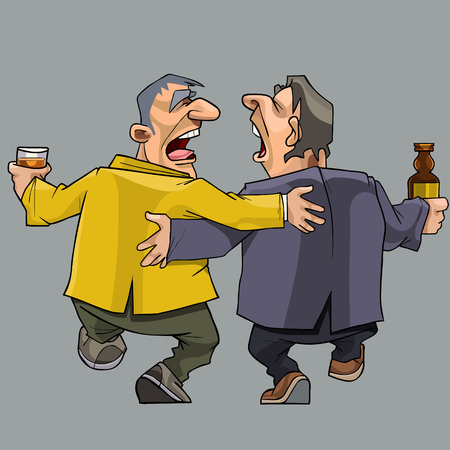 Cartoon two drunk men friends walking and singing, isolated.
