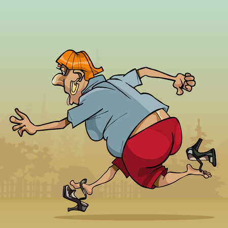 Cartoon woman funny very fast running through the village losing shoes.