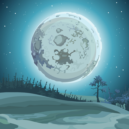 cartoon background great relief moon at night over the forest