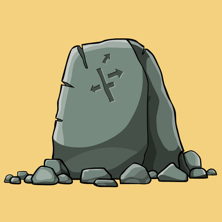 cartoon big stone pointer with painted arrows surrounded by small stones, isolated