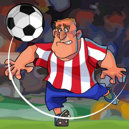 cartoon footballer in blue shorts and white striped red t-shirt has a ball on the field