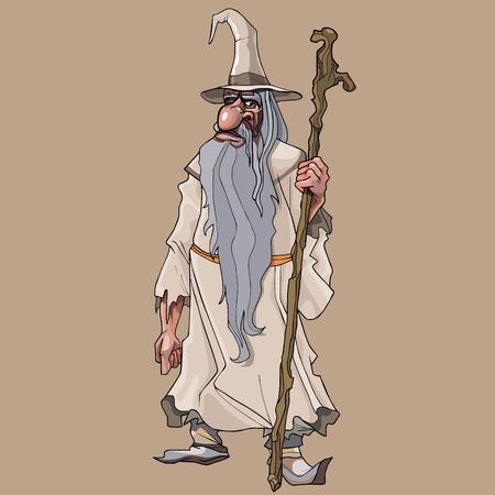 Cartoon bearded fairy old man with staff