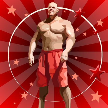 cartoon big male athlete in red shorts on red background with stars Illustration