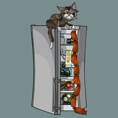 cartoon cat sitting on the fridge pulled out sausages from it Vectores