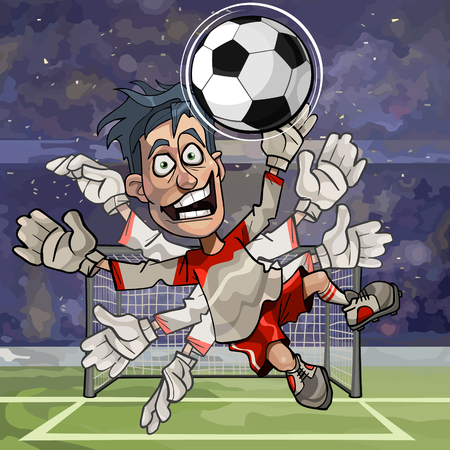 cartoon funny goalkeeper catches the ball with numerous hands