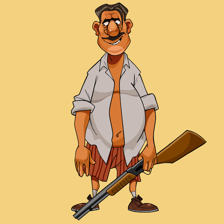 cartoon moustached man in shirt and briefs with a gun in his hand Banque d'images - 104910426