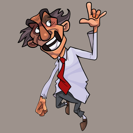 cartoon happily jumps man in the tie and shows the gesture horns