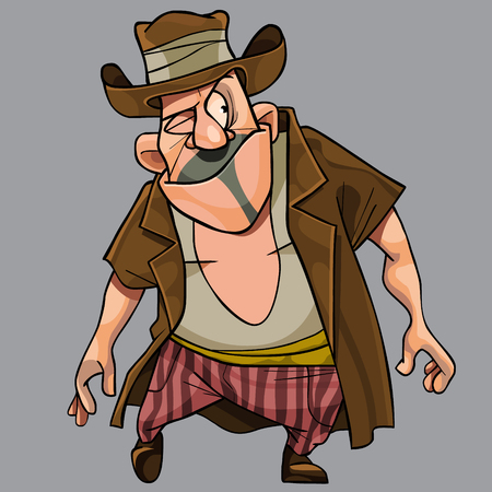 cartoon funny with a cunning squinting man robber in a hat