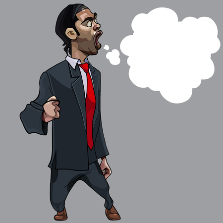 cartoon strongly indignant man with open mouth in suit with empty Speech Balloon Illustration