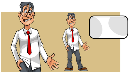 cartoon puzzled man in shirt with tie and blank card.Two versions of the character Illustration