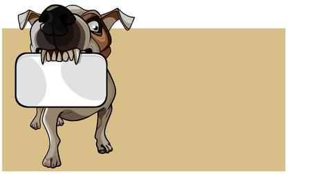 cartoon brown angry dog keeps an empty card in his teeth