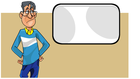 cartoon disgruntled man with glasses looking at a blank screen