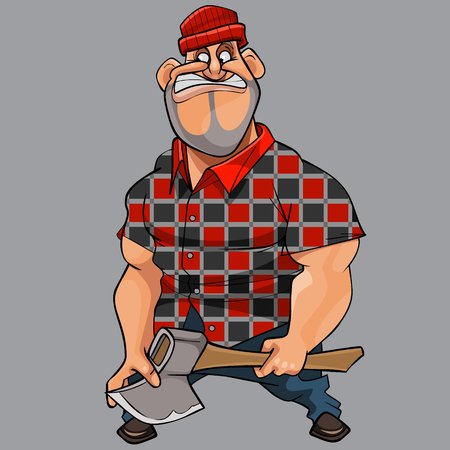 cartoon funny man big guy with an ax in his hand
