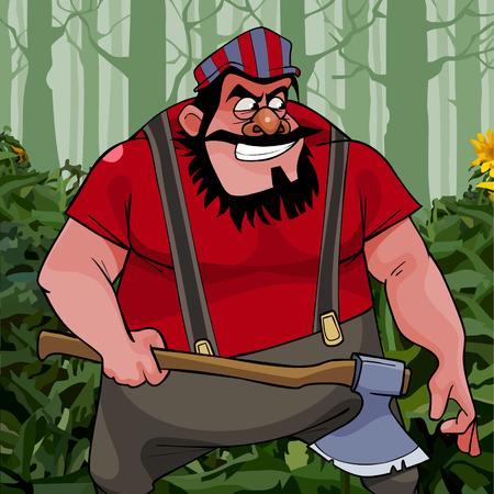 caricatura, traicionero, barbudo, hombre, grande, con, un, hacha, en, el, bosque Ilustración de vector