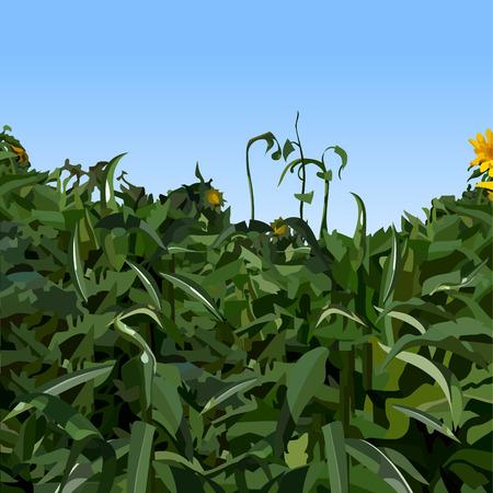 painted dense vegetation of green plants against blue sky