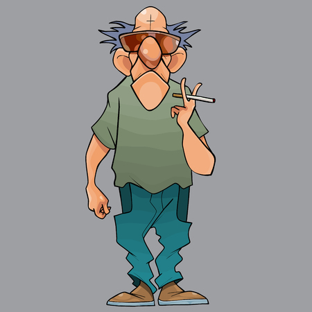cartoon bald serious man with a cigarette in his hand on a gray background