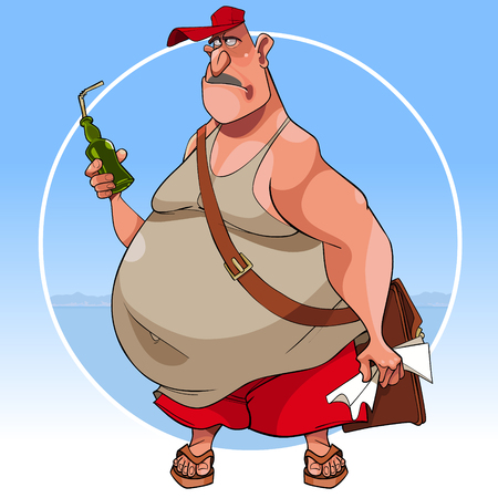 cartoon sad fat man in summer clothes with bottle in his hand