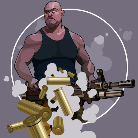 cartoon strong man with big automatic weapons and departing sleeves Illustration