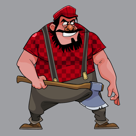 cartoon treacherous man big guy with an ax on a gray background