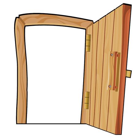 Cartoon-Kurve offene Holztür auf weißem Hintergrund Vektorgrafik