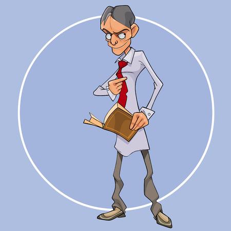 l'homme de la bande dessinée avec un livre à la main regarde étrangement de côté