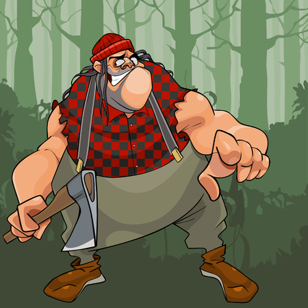 Cartoon terrible fat lumberjack with an ax in woods