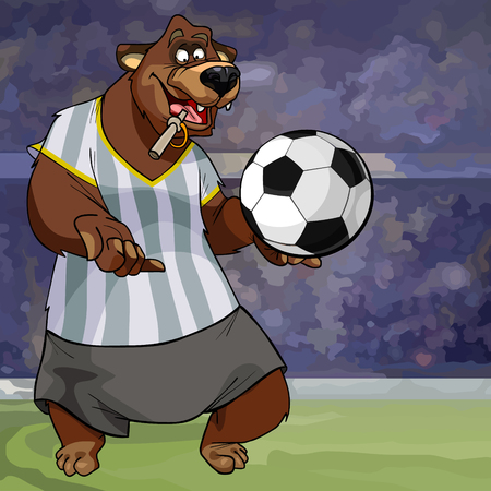 cartoon character bear in a striped tank top with a soccer ball on the field