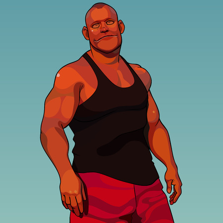 cartoon calm sturdy muscular man dressed in sports clothes stands in the sunset light