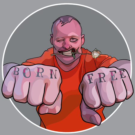 cartoon funny man with flower in his teeth and a tattoo_born free_