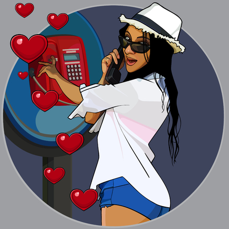 abstraction cartoon loving cheerful woman calling from payphone