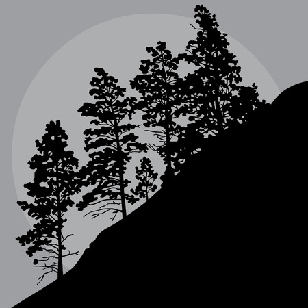 painted silhouette of trees on mountainside in a gray sky Illusztráció