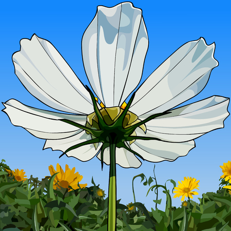 painted white flower, view from below, close-up against the sky and greenery Banco de Imagens - 110214311