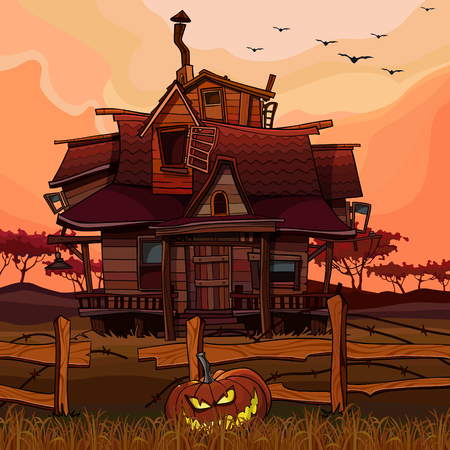 cartoon house at sunset with Halloween pumpkin next to the fence