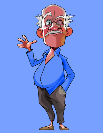 cartoon old gray haired man in a blue shirt winks and waves his hand