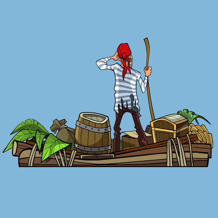 cartoon man pirate on a boat with treasures on blue background. back view Illustration