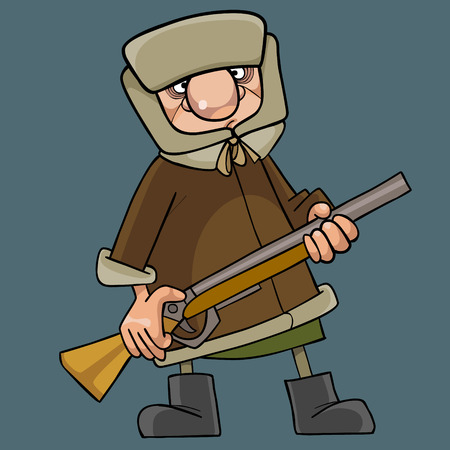 cartoon man in winter clothes standing with gun in his hands