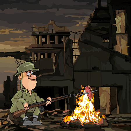cartoon soldier roasting meat on fire while sitting in ruins