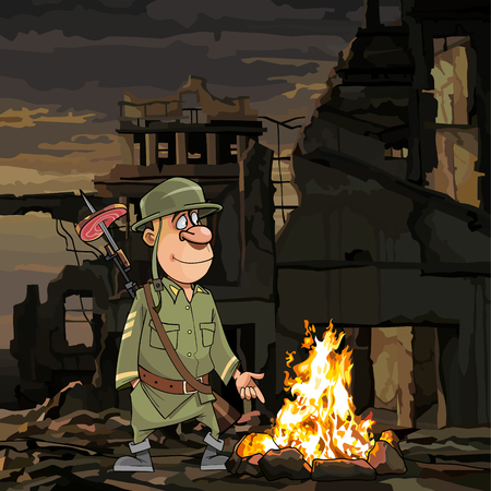 cartoon funny soldier stands by the bonfire in ruins  イラスト・ベクター素材