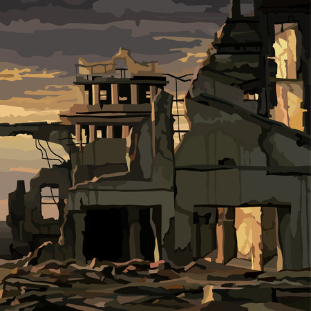 ruins of destroyed houses in the city in the light of a gloomy sunset 矢量图片