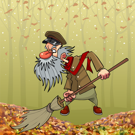 Cartoon angry bearded old janitor sweeping broom in autumn park